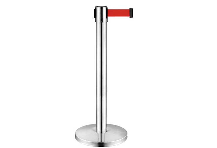 crowd control line management stainless steel retractable belt stanchion RB-632 with red belt