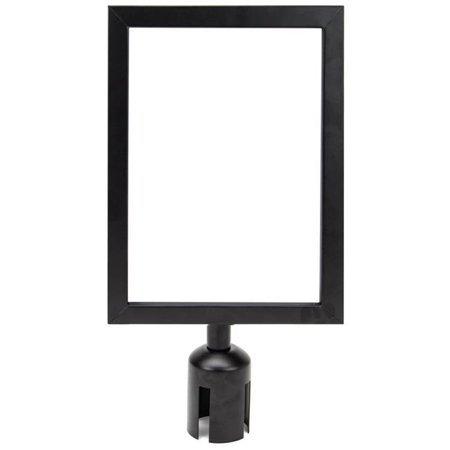 letter size black steel sign holder for retractable belt stanchions image 1