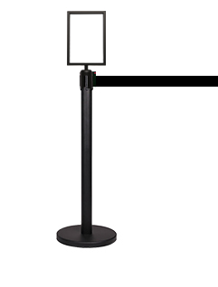 letter size black steel sign holder for retractable belt stanchions image 3
