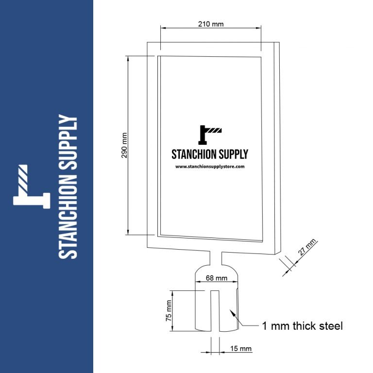 Stanchion sign holder drawing with dimensions