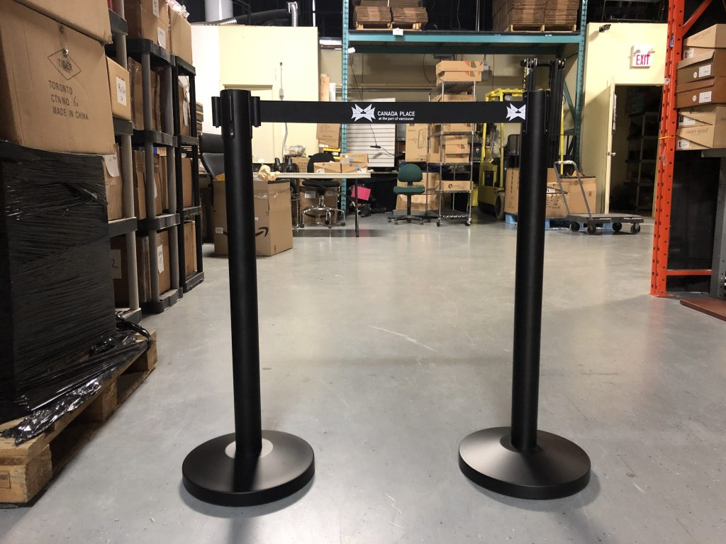 retractable belt stanchion with custom logo canada place at the port of vancouver_image 3