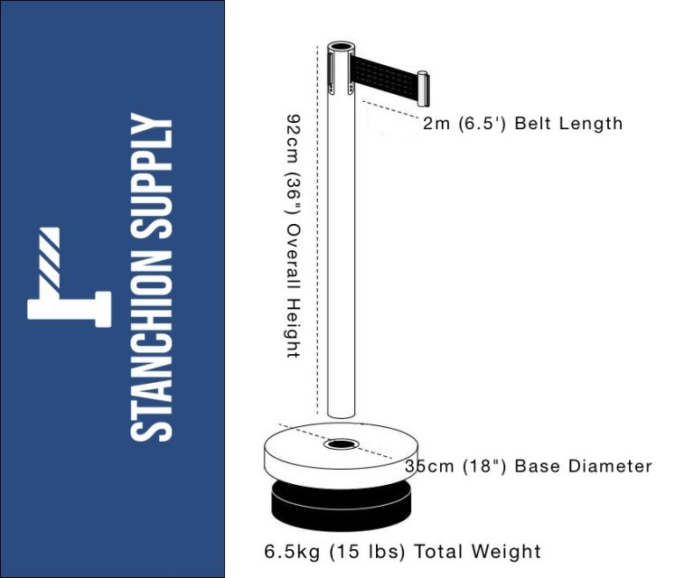 Black on Black Retractable Belt Stanchion RBP-632BF photo with dimensions