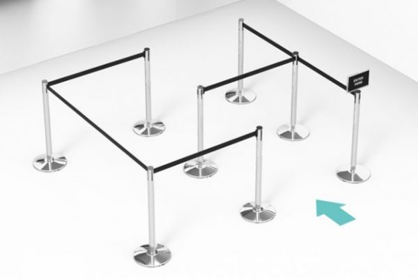 rendered image of retractable belt stanchions for crowd control purpose